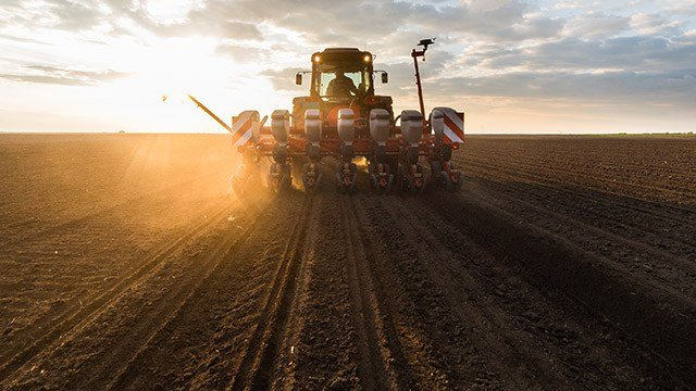 Planting crops at sunrise in a large field.