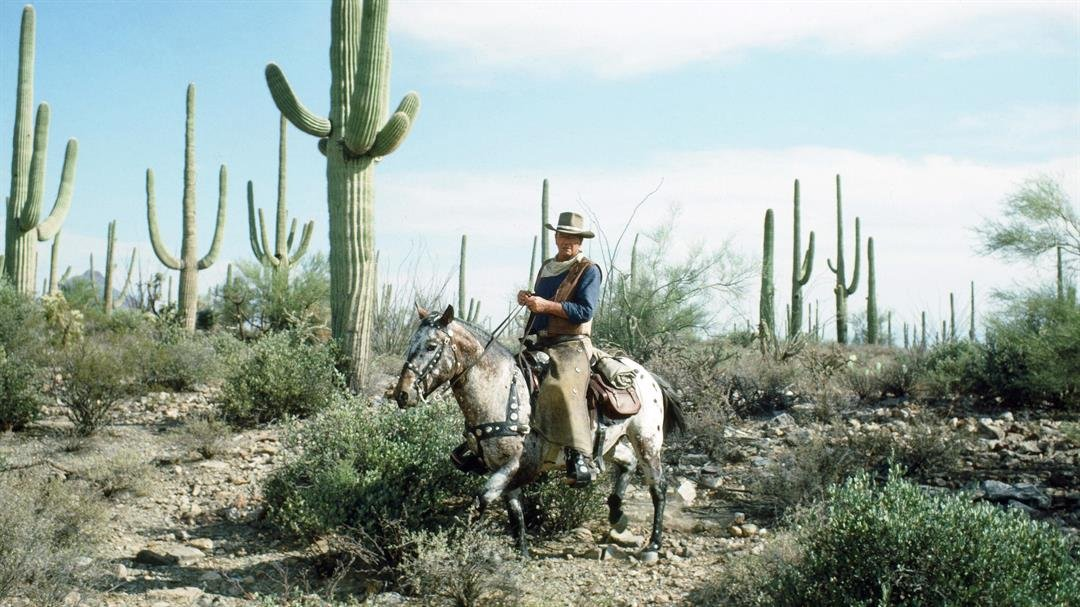 John Wayne on a horse in the desert