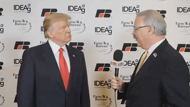 President Donald Trump is interviewed by RFD-TV's Mark Oppold.