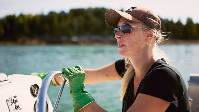Joanna's daily commute to work consists of a boat ride around to the north east corner of Mt. Desert Island.