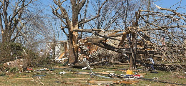 Tornado damage in Kentucky.