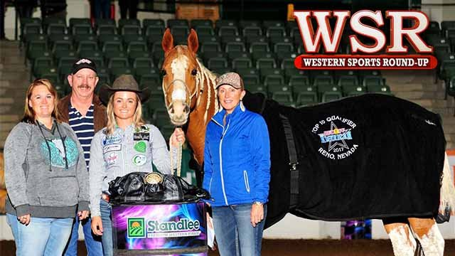 Kelsey Jo Lutjen and KN Fabs Gift of Fame took first place in RFD-TV's THE AMERICAN barrel racing Qualifier.