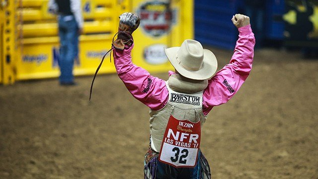 J.R. Vezain celebrates his performance during the fifth night of the Wrangler National Finals Rodeo