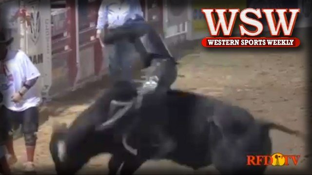 Bryan Titman rides Hell Pony for 88.5 points at the PBR Touring Pro Division Event in Clovis, CA.
