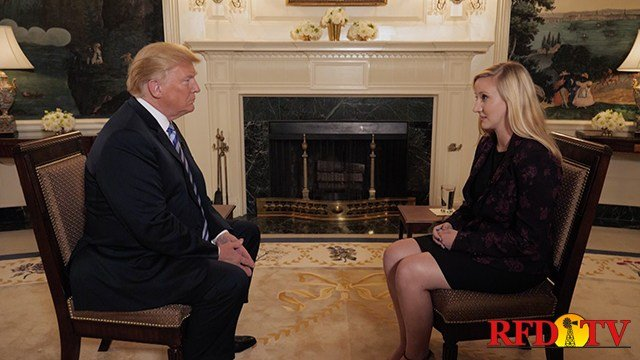 President Donald Trump and RFD-TV's Sarah Mock