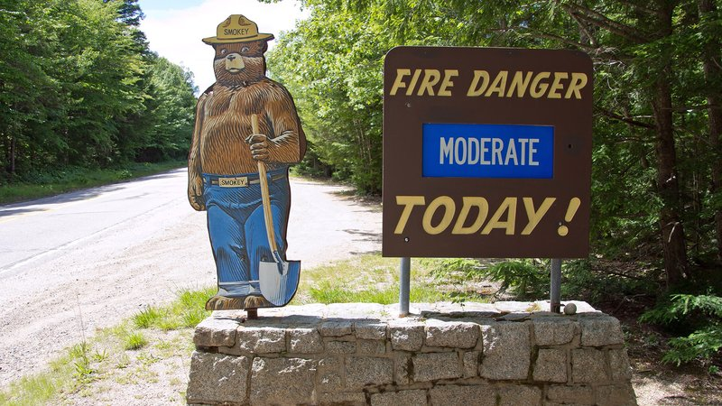 Fire warning sign featuring Smokey the Bear