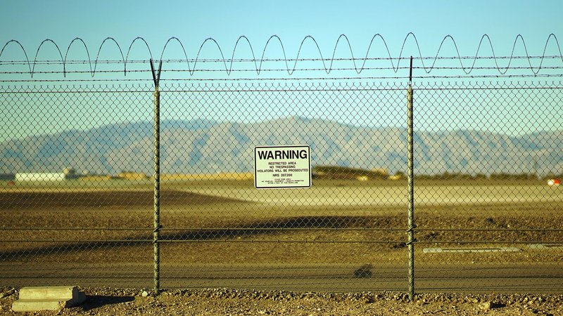 A security fence at Nevada's infamous Area 51.