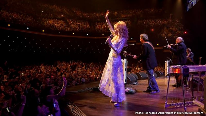 Dolly Parton on stage at the Grand Ole Opry