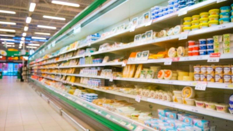 Dairy products on grocery store shelves