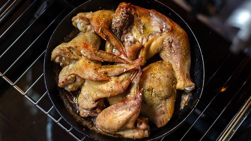 Grilled chicken wings and legs