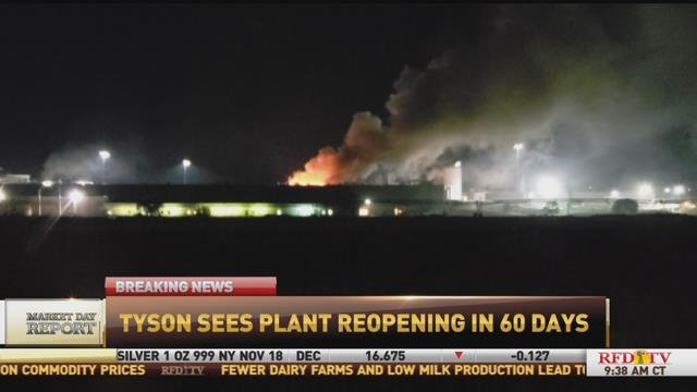 Tyson projects plant damaged by blaze to reopen in 60 days.