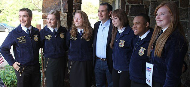 Senator Ted Cruz poses with FFA members at RFD-TV's RURAL TOWN HALL.